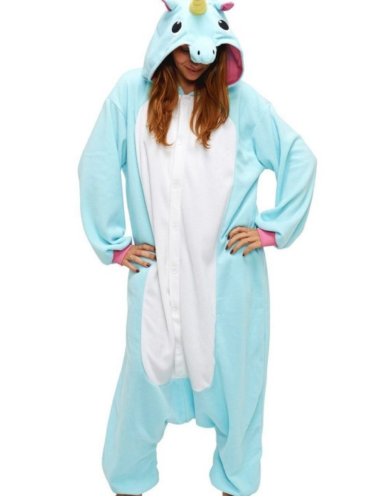 1f2746eeaaa4 Womens   Mens   Unisex Blue And White Unicorn Onesie With Pink Mane ...