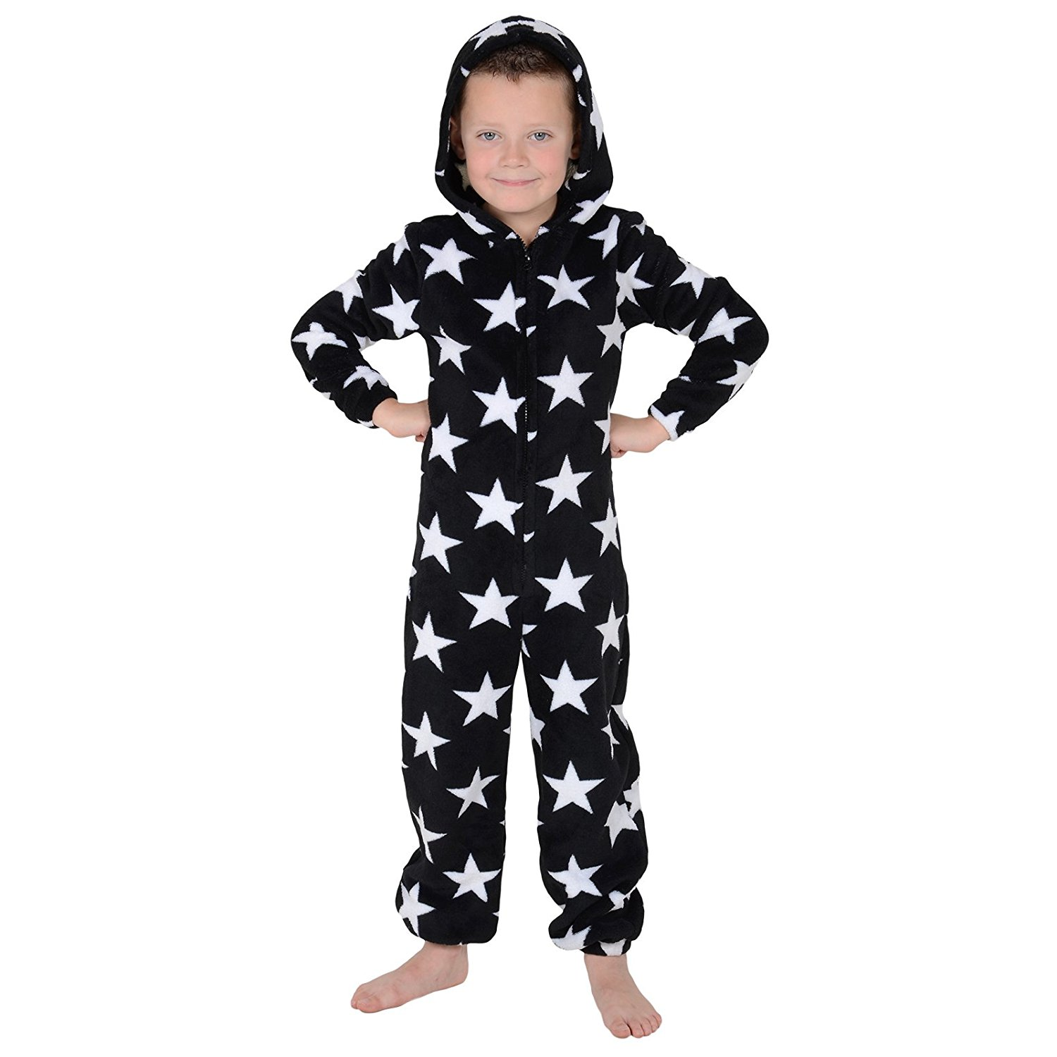 10b7587e2 Boys Black And White Star Hooded Soft Fleece Onesie - onesie onesie
