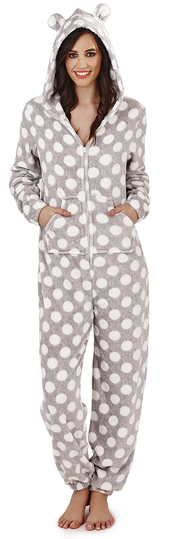 Women's Grey Super Soft Polka Dot and Bear Ears Onesie - onesie onesie