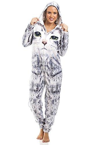 16e01f0dc10f Camille Womens   Childrens Light Grey Cat Print Onesie - onesie ...