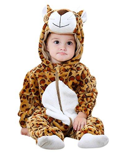 Unisex Baby Flannel Animal Onesie Leopard - 0-12 Months ...