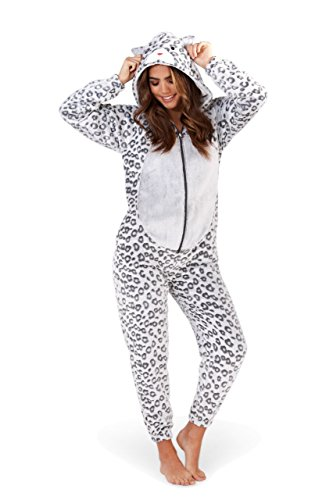 a1eaab4861 Womens Fleece Animal Onesie Leopard Print - onesie onesie